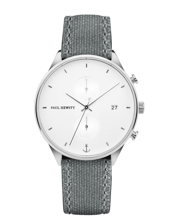 Paul Hewitt Chrono White Sand Grey Canvas Watch