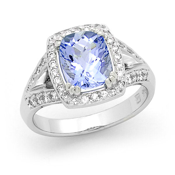 Audrey' Tanzanite & Diamond Ring in 18ct White Gold