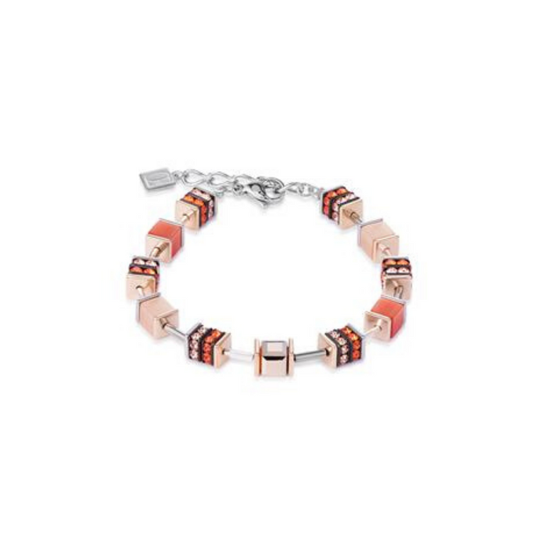 Coeur De Lion - Geo Cube Elegant Orange Rose Gold Bracelet