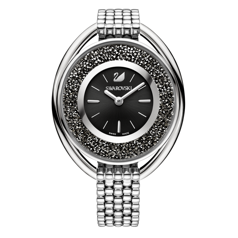 SWAROVSKI - Watches Crystalline Oval Watch Black & Silver Tone
