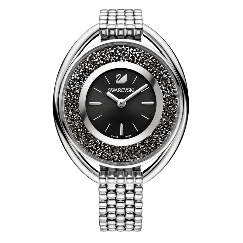 SWAROVSKI - Crystalline Oval Watch Black & Silver Tone