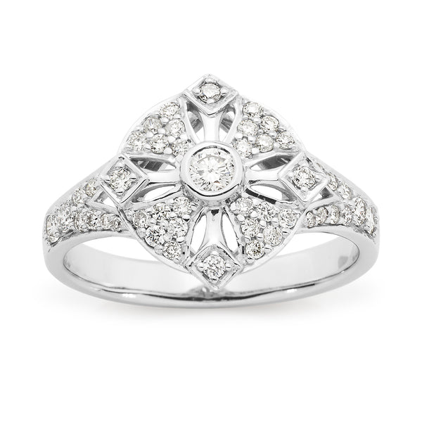Belle' Art Deco Style Diamond Ring in 9ct White Gold