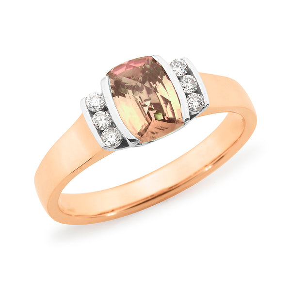 Chloe' Morganite & Diamond Ring in 9ct Rose Gold