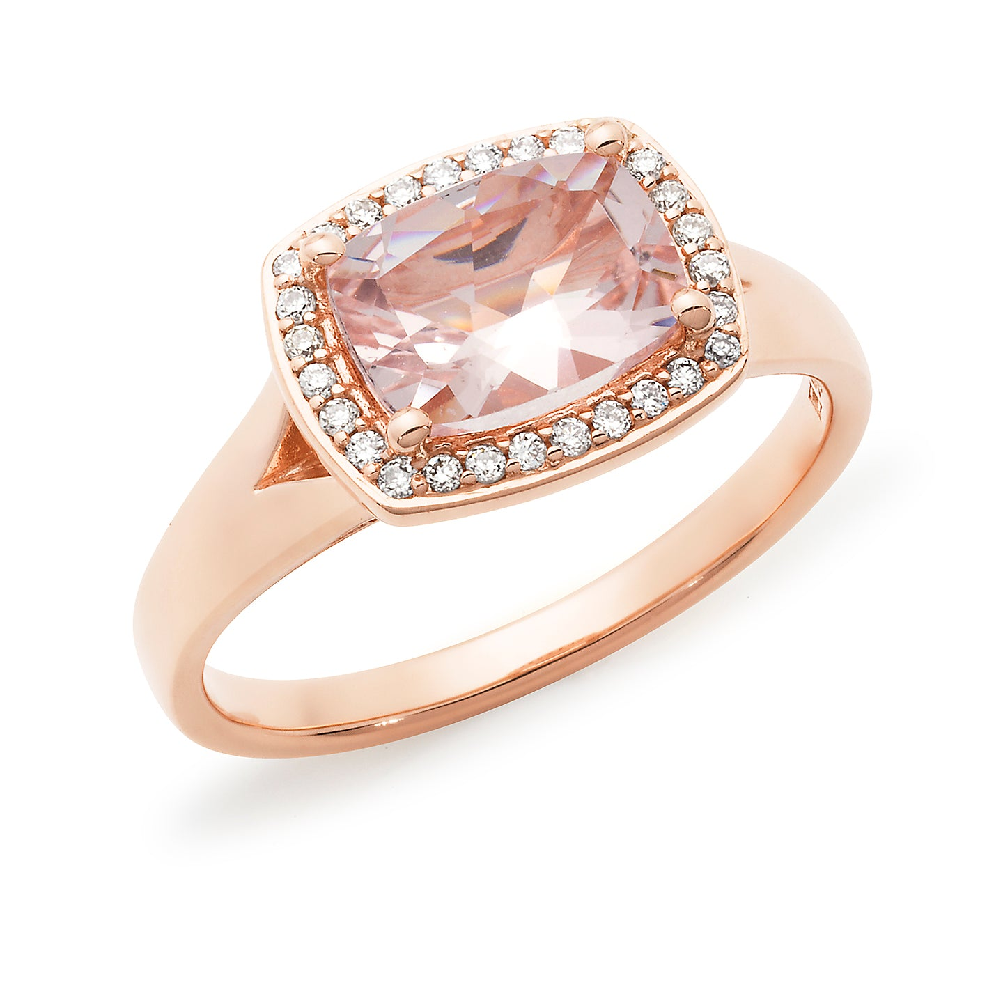 'Madeline' Morganite & Diamond Halo Ring