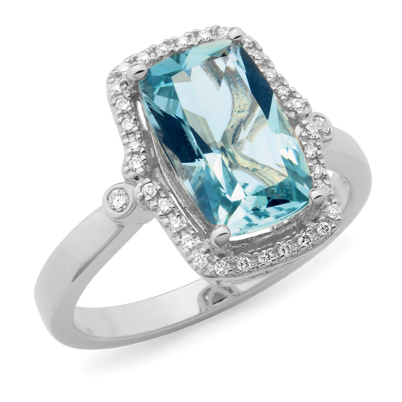 Eva' Aquamarine & Diamond Ring in 9ct White Gold