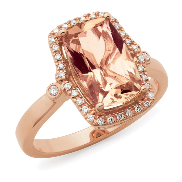 Lillian' Morganite & Diamond Ring in 9ct Rose Gold