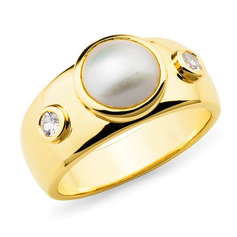 9ct Yellow Gold Mabe Pearl & White Sapphire Ring
