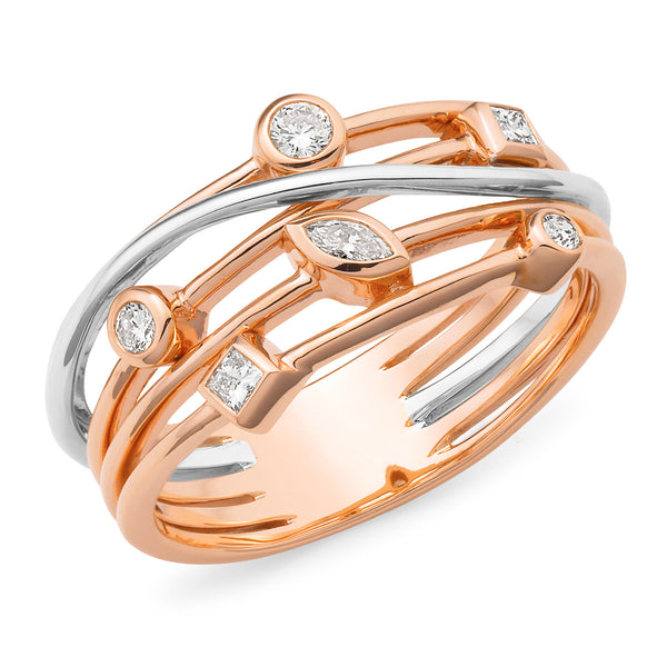 Ellen' Diamond Ring in 9ct Rose & White Gold