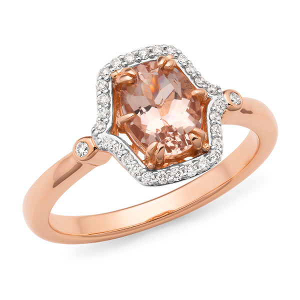 Winsome' Morganite & Diamond Ring in 9ct Rose Gold