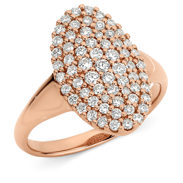 Katherine' Oval Cluster Diamond Ring in 9ct Rose Gold