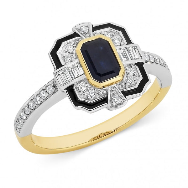 Lucille' Sapphire & Diamond Ring in 9ct Yellow & White Gold