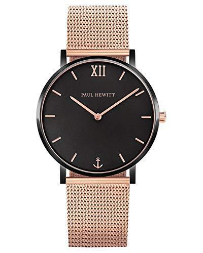 Paul Hewitt Sailor Black Sunray Rose Gold Mesh Watch