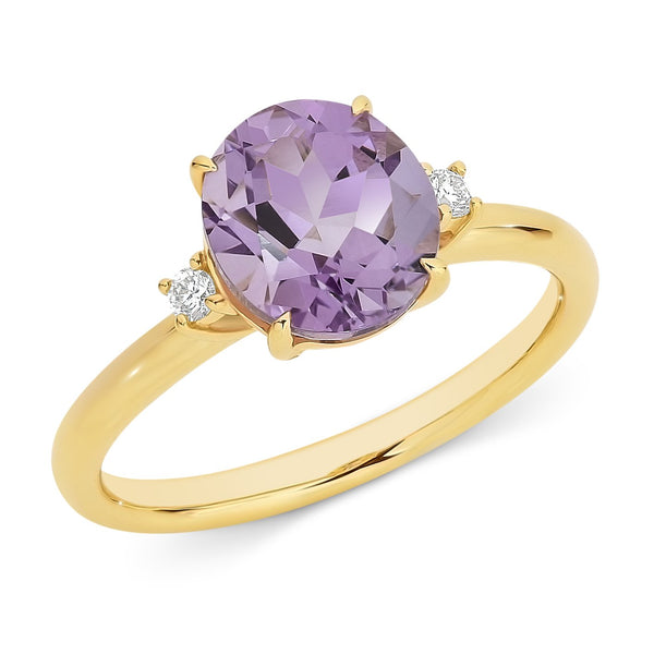 9ct yellow gold pink amethyst & diamond ring