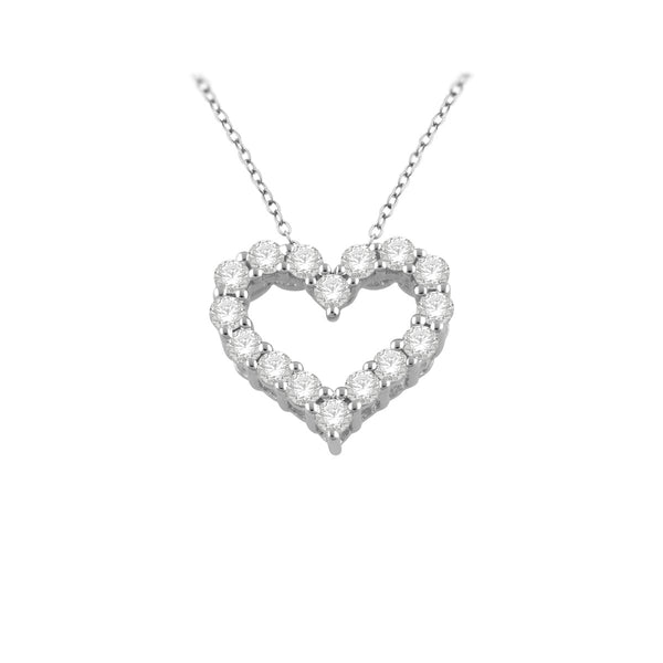 9ct white gold 0.25ct diamond heart slider
