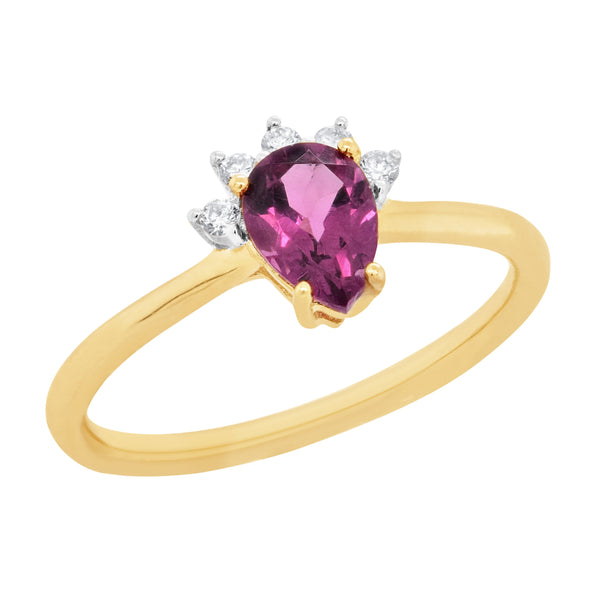 9ct yellow gold rhodolite garnet & diamond ring