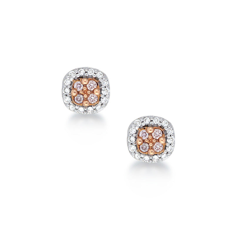 Blush Pink Pink Argyle Diamond Studs with Halo