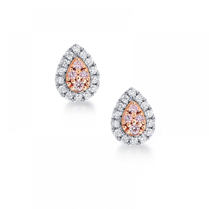 Pear Cluster Pink Argyle Diamond Earrings