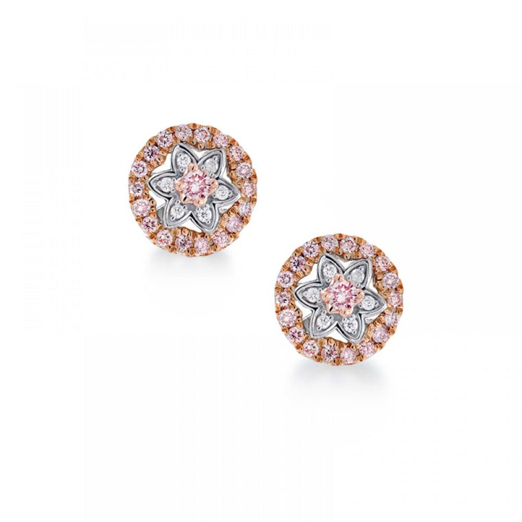 Flower Cluster Pink Argyle Diamond Earrings