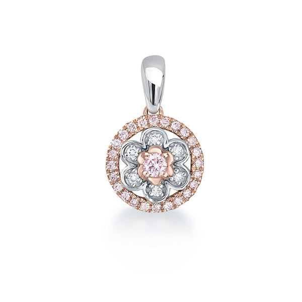 Blush Pink Flower Cluster Pink Argyle Diamond Pendant