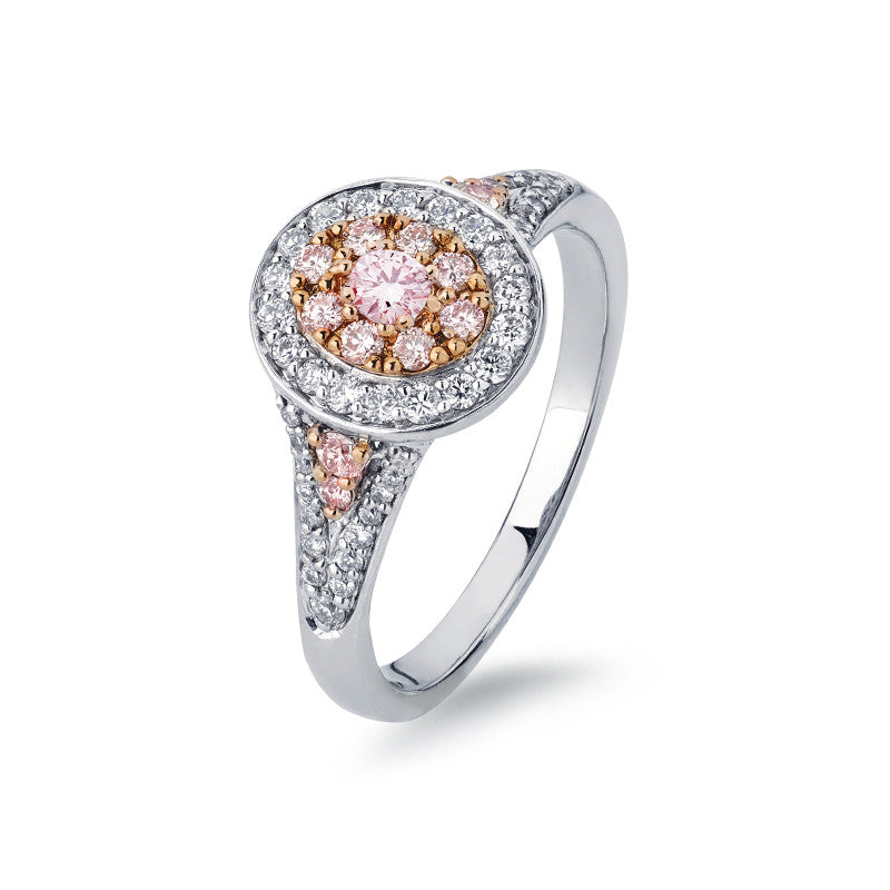 Oval Cluster Pink Argyle Diamond Ring