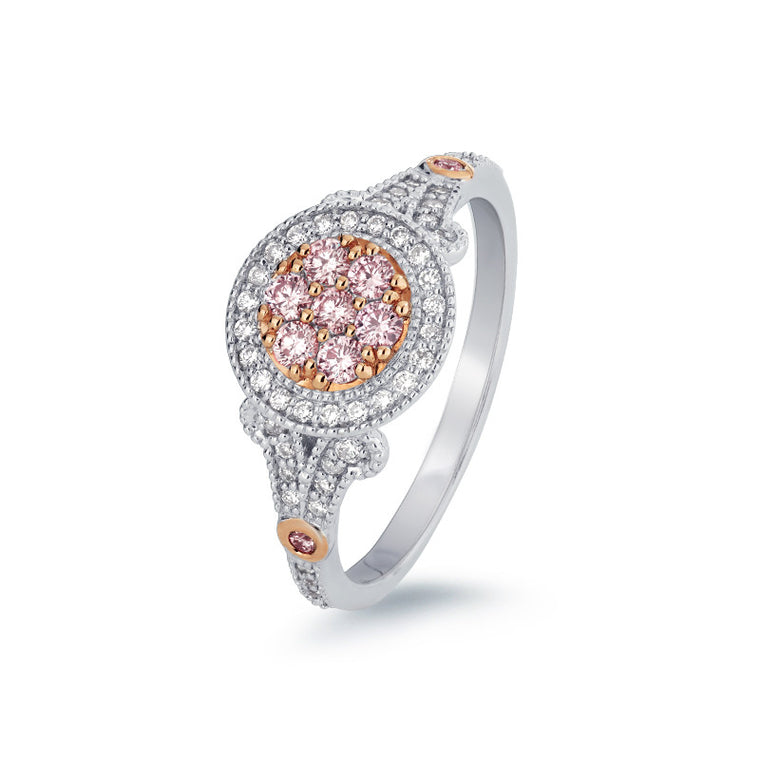 Vintage Style Pink Argyle Diamond Ring