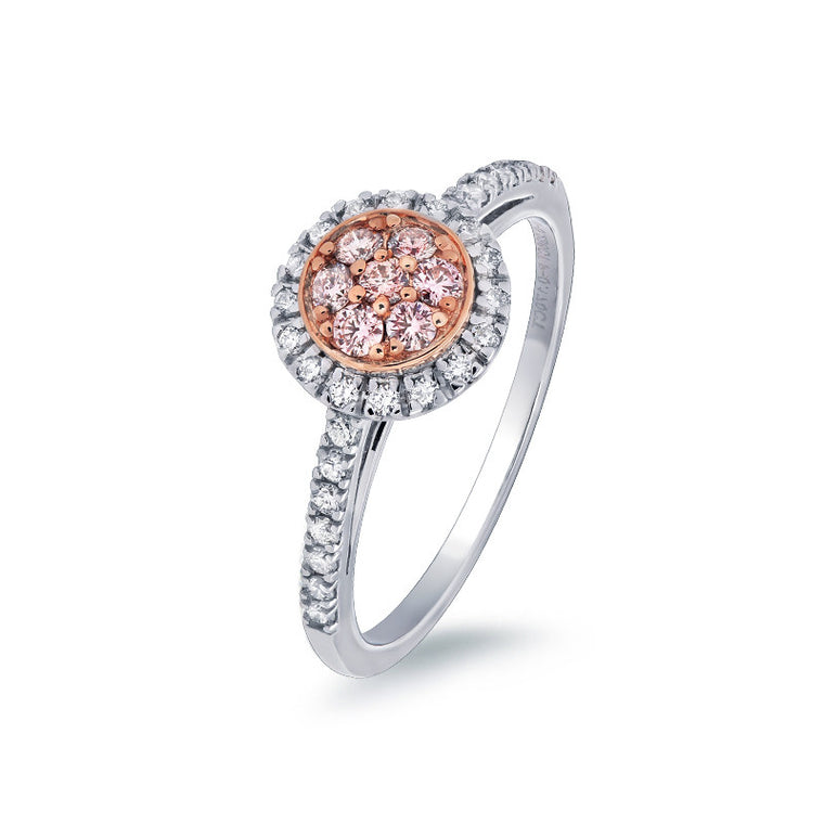 Round Cluster Pink Argyle Diamond Ring