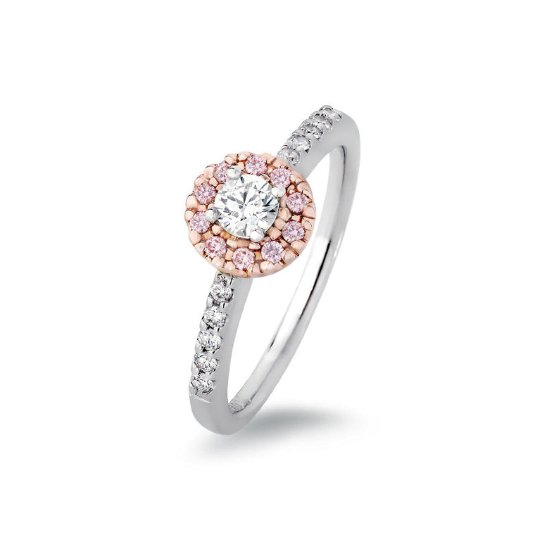 Diamond Ring with Pink Argyle Diamond Halo