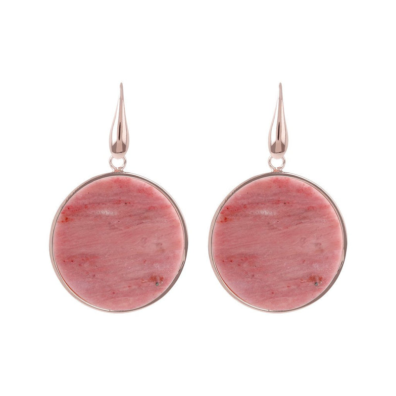 Bronzallure Big Red Fossil Disc Earrings