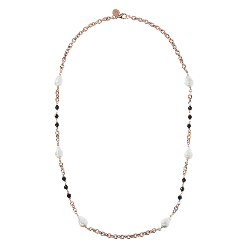 Bronzallure Black Spinel and Baroque Pearl Necklet