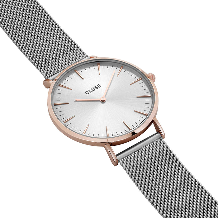 Cluse -  La Boheme Mesh Rose Gold & Silver Watch