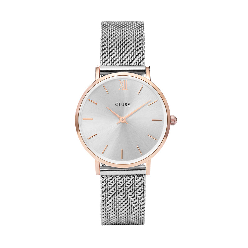 Cluse -  Minuit Mesh Rose Gold & Silver Watch