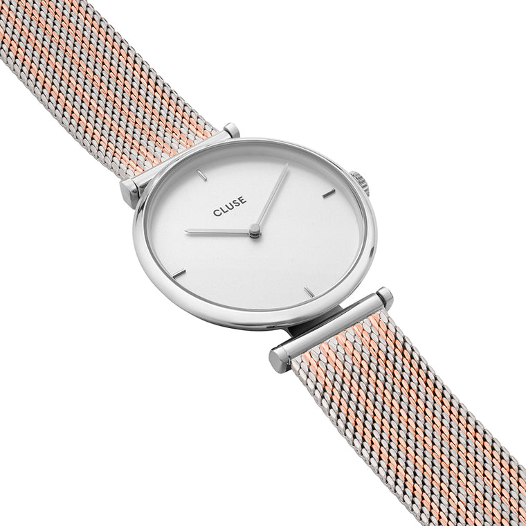 Cluse -  Triomphe Silver Bicolour Mesh Watch