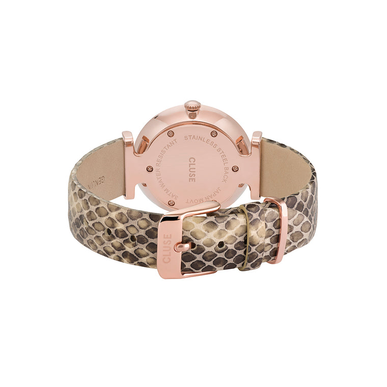 Cluse - Triomphe Rose Gold, White Pearl & Soft Almond Python Watch