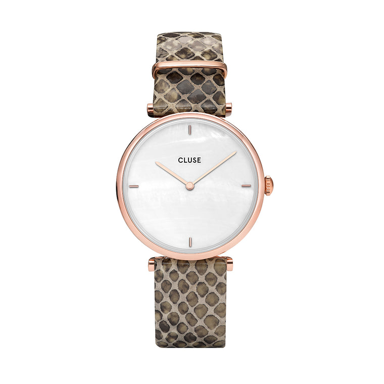 Cluse -  Triomphe Rose Gold & Soft Almond Python Watch