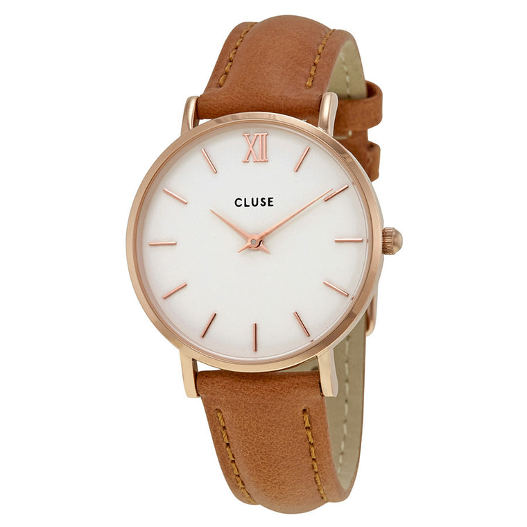 Cluse - Minuit Rose Gold White/Caramel Watch