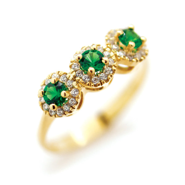 9ct Gold Emerald & Cubic Zirconia Ring