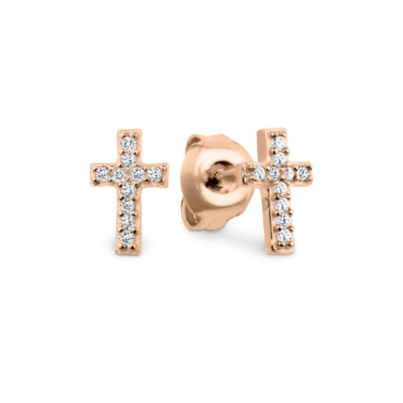 Georgini - Rose Gold Plated Sterling Silver Cubic Zirconia Baby Cross Stud Earrings