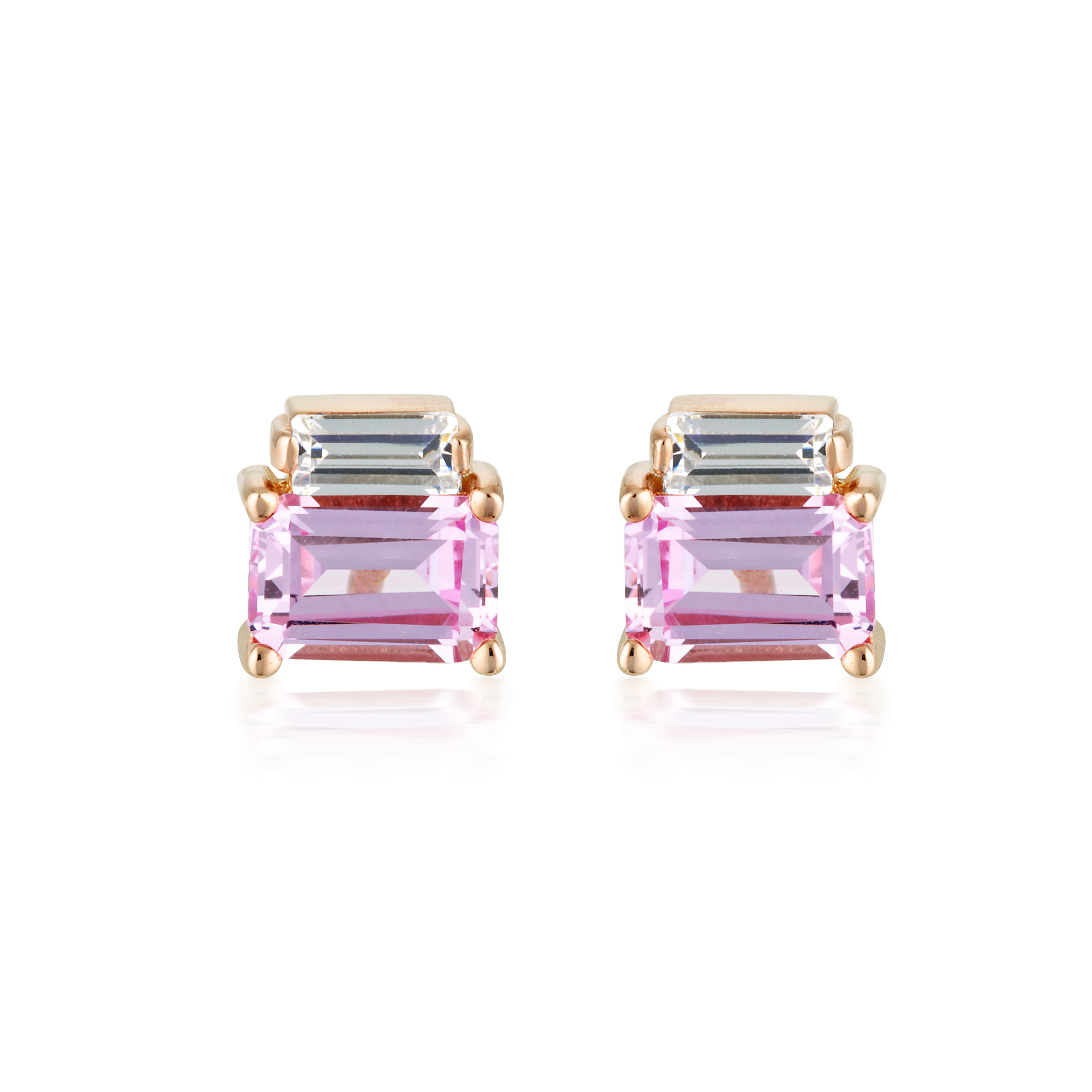 Georgini - Emilio Rose Gold Plated Pink Sapphire CZ Earrings