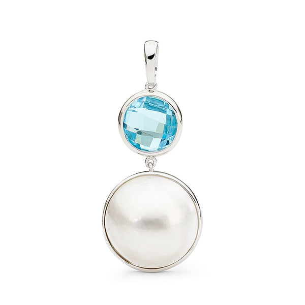 Blue Topaz & Mabe Pearl Pendant