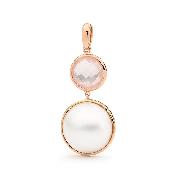 Mabe Pearl & Rose Quartz Drop Pendant
