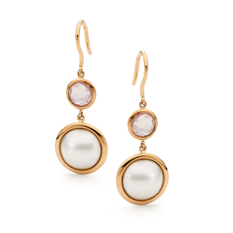 Mabe Pearl & Rose Quartz Drop Earrings