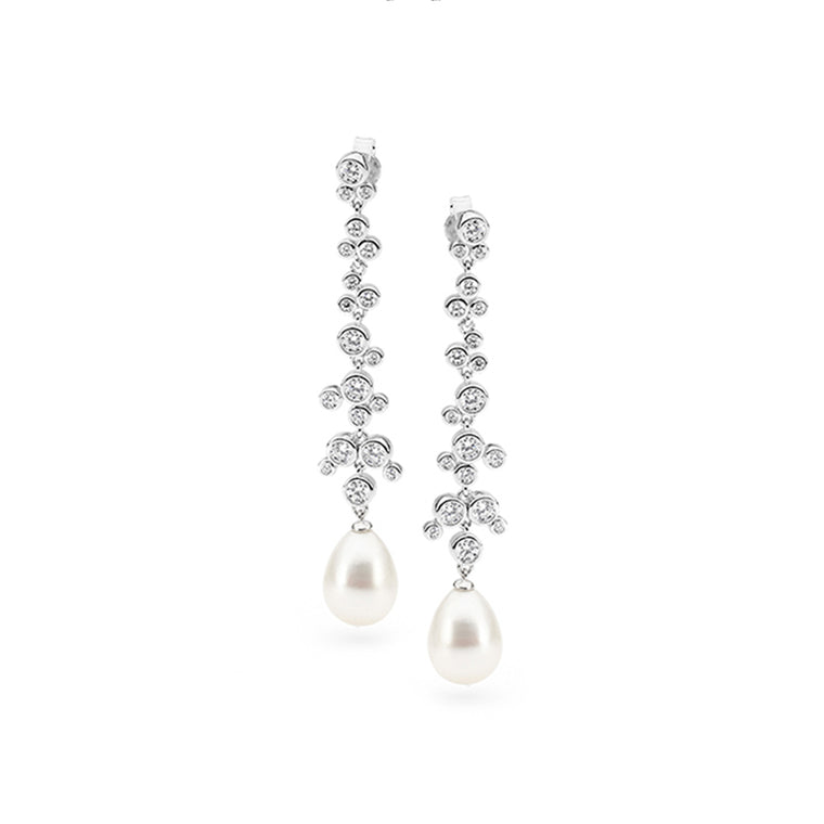 Freshwater Pearl CZ Drop Earrings
