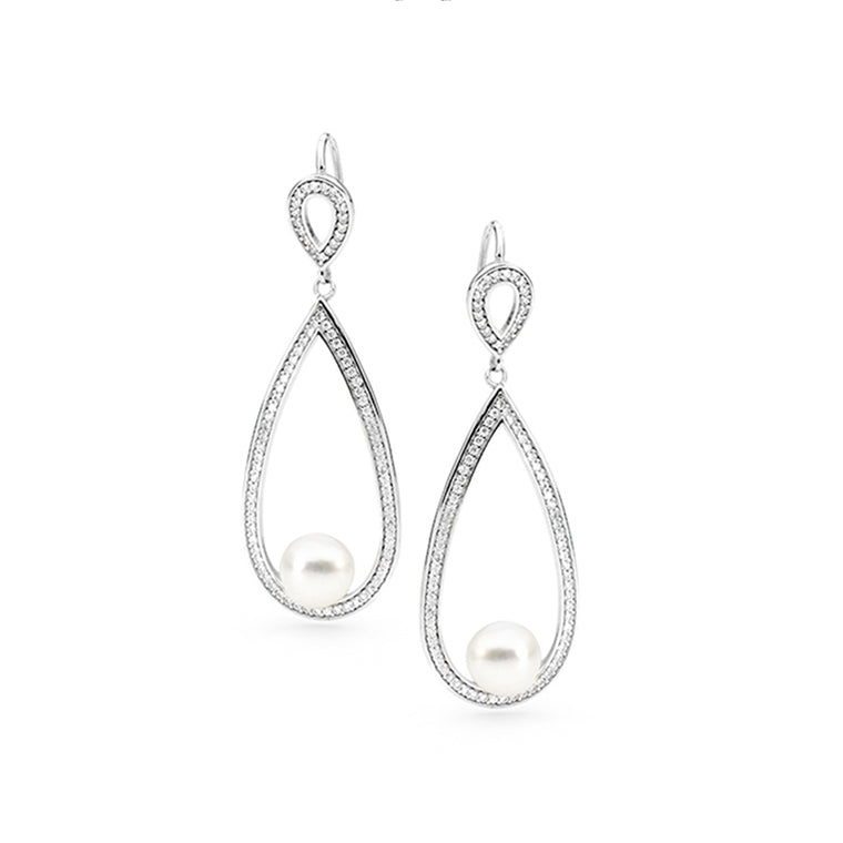 IKECHO - Freshwater Pearl & CZ Earrings