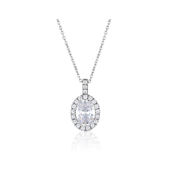 Georgini - Oval Halo Sterling Silver Cubic Zirconia Necklet
