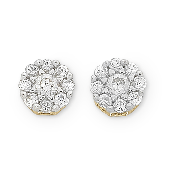9ct Yellow Gold Diamond Cluster Studs