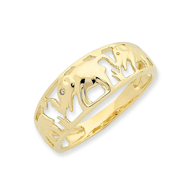 9ct Gold Diamond Elephant Ring