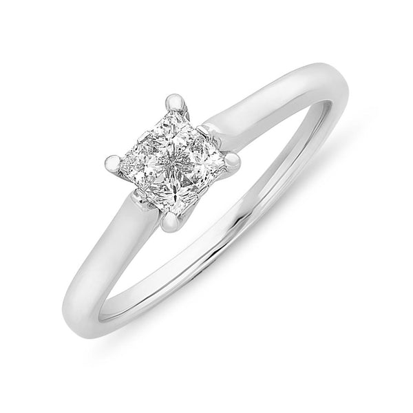 9ct White Gold Princess Cut Diamond Illusion Set Ring