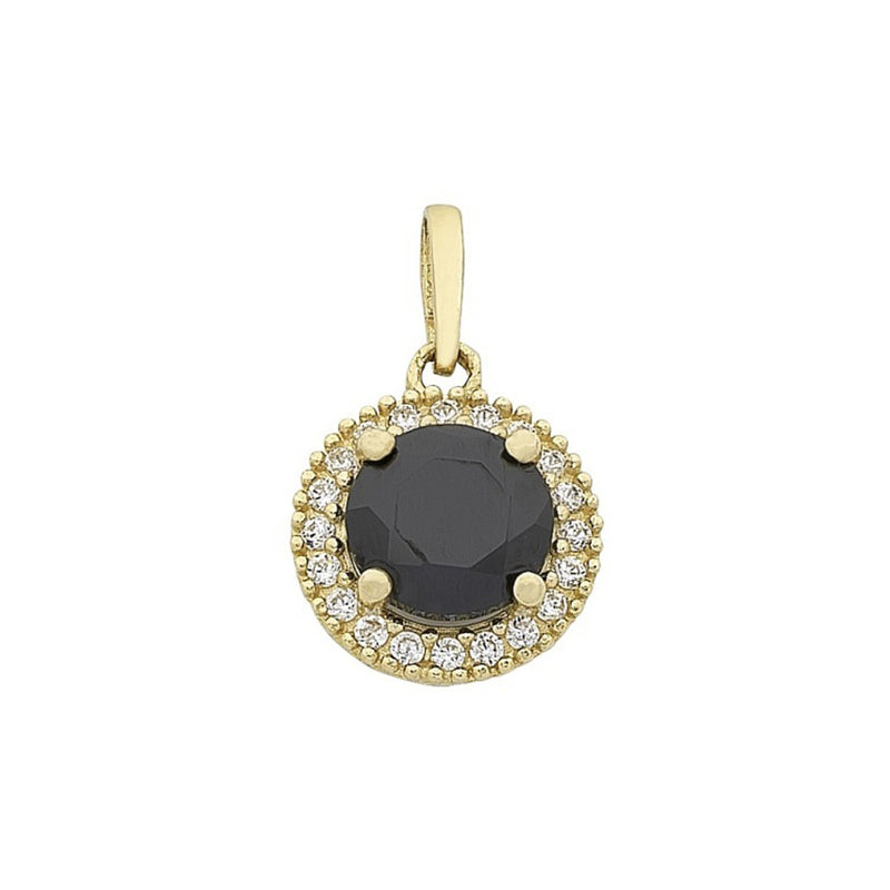 9ct Yellow Gold Gold Black & White Cubic Zirconia Halo Pendant