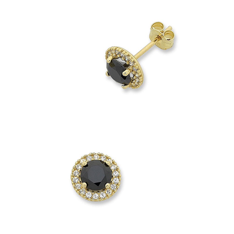 9ct Yellow Gold Black Cubic Zirconia Studs