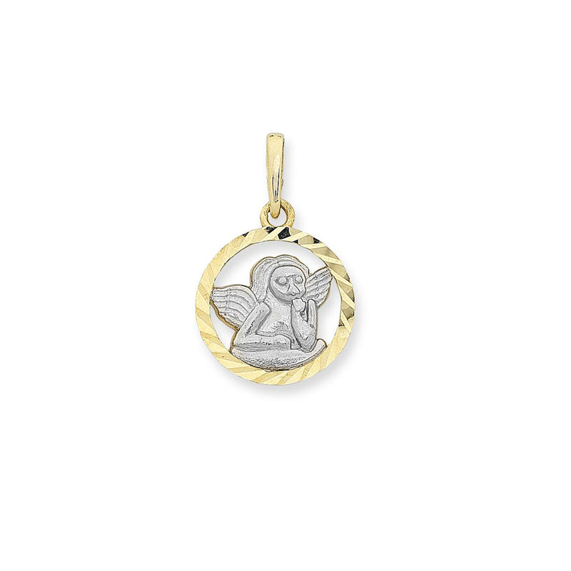 9ct Yellow Gold Two Tone Angel Pendant